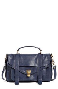 $1,695, Navy Leather Crossbody Bag: Proenza Schouler Ps1 Medium Satchel. Sold by Nordstrom. Click for more info: https://lookastic.com/women/shop_items/42369/redirect