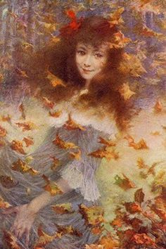"""""""Autumn Wind - Portrait of Miss Suzanne S"""" - Lucien Lévy-Dhurmer (French, 1865-1953)"""