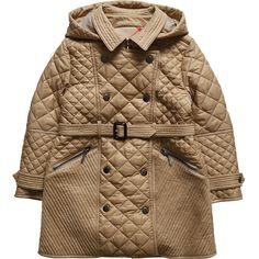 Junior Girls Beige Quilted Puffer Coat BURBERRY