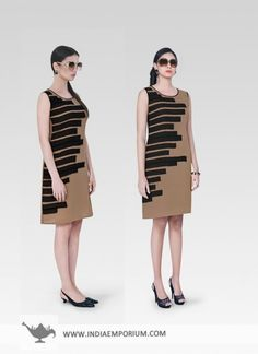 Beige & Black Ornate Georgette Kurti #Beige #Kurti #Sleeveless #Hot #Printed  #OOTD #OutfitOfTheSummer #Summertrend #Indiaemporium