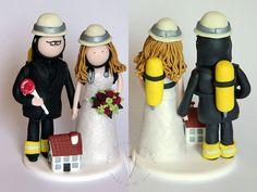 Feuerwehr Krankenschwester Brautpaar  Hochzeitstortenfigur von www.tortenfiguuren.at