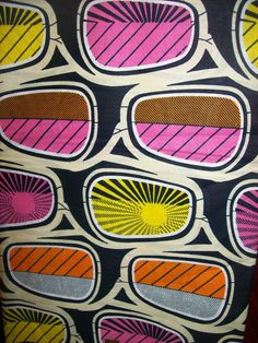 Eye glasses - African inspired fabric from etsy. Graphic Patterns, Textile Patterns, Print Patterns, African Textiles, African Fabric, African Prints, Ankara Fabric, Kitenge, Pattern Images