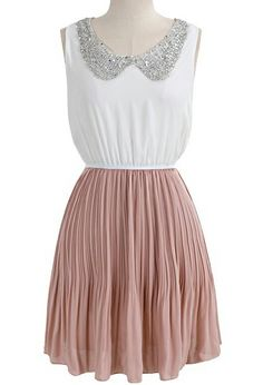 White Pink Sleeveless Sequined Pleated Chiffon Dress