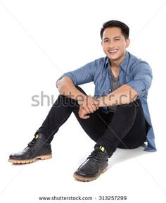 sitting pose: Portrait of a young asian man sitting on the floor, smile to the camera Sitting Pose Reference, Art Reference Poses, Design Reference, Drawing Reference, Figure Drawing, Sitting Poses, Man Sitting, Standing Poses, Man Standing