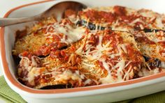 easy eggplant parm - bake the eggplant instead of frying it, hmmm...