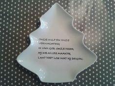 Kerstboom bord met christelijke tekst