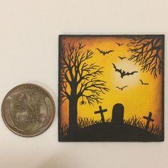 KARRY JOHNSON IGMA Artisan tiny Miniature AUTUMN Painting HALLOWEEN SILHOUETTE 2 Halloween Silhouettes, Autumn Painting, Folk Art, Artisan, Miniatures, Fall Chalkboard, Popular Art, Craftsman, Minis