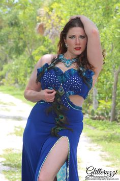 Oriana Bellydance in a custom peacock bellydance costume by Patty Trump Klein Creations