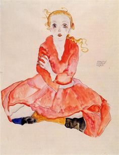 Seated Girl Facing Front 1911 Egon Schiele