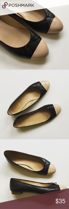 "J. Crew Kiki Ballet Flats Leather Super cute pair of J. Crew Kiki Baler flats. Made in Italy. Genuine leather. Classic closet staple! In great pre-worn condition. Some scratches on the nose from normal wear.  Priced accordingly. Size 10.5. Heel 5/8"". No trades. J. Crew Shoes Flats & Loafers"