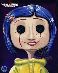 Other Coraline by PsychoSlaughterma. on drawings coraline Other Coraline by PsychoSlaughterma. Creepy Paintings, Cute Canvas Paintings, Small Canvas Art, Mini Canvas Art, Creepy Art, Halloween Painting, Halloween Drawings, Halloween Art, Halloween Costumes