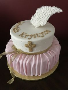 Angel Wings Christening Cake Cross Cakes, Angel Wings, Christening, Desserts, Food, Tailgate Desserts, Deserts, Meals, Dessert