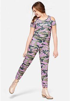 edafc767e519 Camo Cold Shoulder Jumpsuit Tween Rompers, Girls Dresses Tween, Jumpsuits  For Girls, Tween