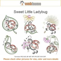 Sweet Little Ladybug Machine Embroidery Designs Instant Download 4x4 5x5 6x6 hoop 10 designs SHE5072