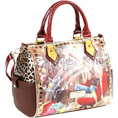 Nicole Lee Kayla Blocked Fashionista Print Satchel Thoughts Of You - Nicole Lee Leather Handbags