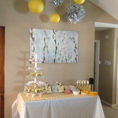 Yellow and grey chevron baby shower