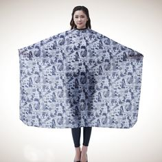 Salon Professional Hair Styling Cape, Colorfulife® Beauty Printing Hair Cutting Coloring Waterproof Polyester Pongee Hairdresser Wai Cloth Barber Gown Home Camps and Hairdressing Wrap Capes B034 (Grey) -- Be sure to check out this awesome product.