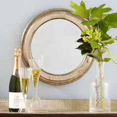 Wisteria - Mirrors & Wall Decor - Mirrors - Handfinished Silver Mirror - Round - $99.00