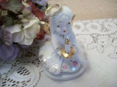 Angel Figurine White Porcelain Girl Holding by SpringJewelryThings