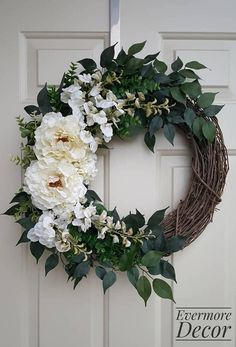 White Peony Floral Wreath with Succulent Accents on Grapevine