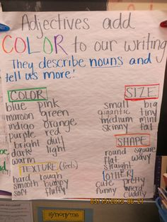 Adjectives anchor chart Editing Writing, Teaching Writing, Writing Activities, Writing Tips, Teaching Ideas, 3rd Grade Writing, First Grade Reading, Third Grade, Adjective Anchor Chart