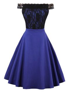a1372be663 Off The Shoulder Vintage Fit and Flare Dress