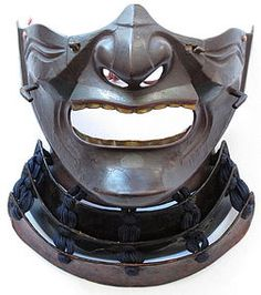 Antique Japanese Lacquered Menpo Samurai Mask
