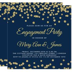 Gold Faux Glitter Confetti Engagement Party Navy Card - glitter glamour brilliance sparkle design idea diy elegant
