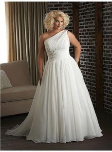 142.49 cadress.com SUPPLIES One-shoulder Court Lovely Train Ruffles Sleeveless  Wedding Dresses Calgary
