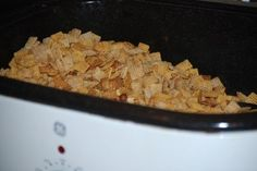 Chex Party Mix in Roaster Oven - Gluten Free - from Smockity Frocks