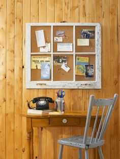 Window Frame Bulletin Board- good idea for all the old windows out in the barn