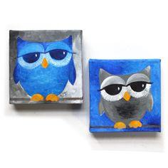 Whimsical Owl Art 2 BLUE and GRAY OWLS Set of 2 6x6x1.5 by nJoyArt, $60.00