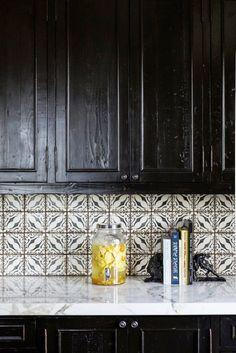 kitchen black rustic cabinets tile backsplash cococozy black white home office cococozy 5