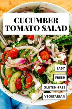This cucumber tomato salad recipe is light, refreshing and perfect for summer! Featuring fresh cucumber, cherry tomatoes, leafy herbs, optional feta and Greek dressing. #cucumbertomatosalad #summersalad #salad #cookieandkate Tomato Salad Recipes, Cucumber Tomato Salad, Salad Dressing Recipes, Gluten Free Vegetarian Recipes, Healthy Recipes, Drink Recipes, Hummus Sandwich, Recipe For Mom, Recipe Ideas