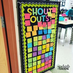 One of the easiest ways to build community in our classroom has definitely been our Shout Out board! We've filled it twice and students love giving compliments and receiving them! All the shout outs are taken down and then given to each student on a templ 5th Grade Classroom, Middle School Classroom, Classroom Behavior, New Classroom, Classroom Community, Classroom Setting, Classroom Design, Classroom Organization, Classroom Management