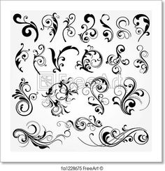 Floral graphic design elements vector 25355 - by onfocus on VectorStock® Norwegian Rosemaling, Arabesque, Floral Design, Graphic Design, Design Design, Swirl Design, Layout Design, Pattern Design, Free Art Prints