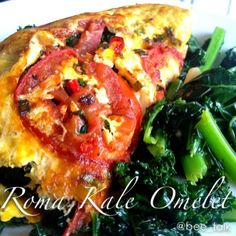 Ripped Recipes - Roma Kale Omelet  - Roma tomato encrusted omelet filled with garlicky kale. Super delicious and only 5 ingredients! Roma tomatoes are super high in iron and magnesium, essential minerals that many women and non-meat eaters lack in their diets. So please, indulge in these plump little veggie wannabes.