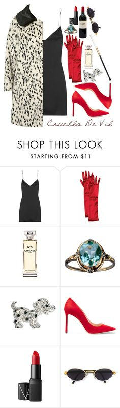 """Halloween: Cruella De Vil"" by mariimontero ❤ liked on Polyvore featuring Kiki de Montparnasse, Forum, Topshop, Chanel, ASOS, Jimmy Choo, NARS Cosmetics and Gianfranco Ferré"