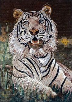 A beautiful decorative mosaic for any indoor or outdoor wall. This mosaic artwork depicts a glaring White Tiger and is fully handmade using hand-cut technique to give it a more authentic look. Perfect addition to any animal lover room Mosaic Artwork, Mosaic Wall Art, Glass Wall Art, Marble Mosaic, Stained Glass Art, Mosaic Glass, Mosaic Tiles, Tiling, Mosaic Crafts