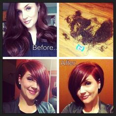 Love her hair!Total transformation from long red hair to short asymmetrical bob.super cute and looks so fresh and young! Love Hair, Great Hair, Gorgeous Hair, Asymmetrical Bob Short, Natural Hair Styles, Short Hair Styles, Look 2018, Long Red Hair, Corte Y Color