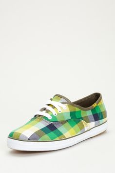 Keds Champion Plaid Lace Up Blue, Green and Yellow Sneakers #colorful #shoes #sneakers