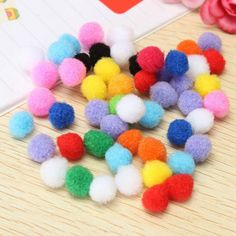 Hot Selling 50Pcs/set 10mm Assorted Mixed Colour Mini Fluffy Pompoms Ball for Clothes Sweater Hat Yarn Sewing Craft Decor DIY