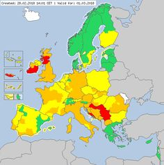 Meteoalarm - severe weather warnings for Europe - Valid for 01.03.2018
