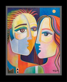Abstract Oil Painting Cubism Original Art Modern Couple