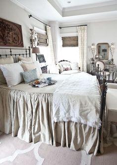 Vintage French Soul ~   linen-blanket-on-french-bed