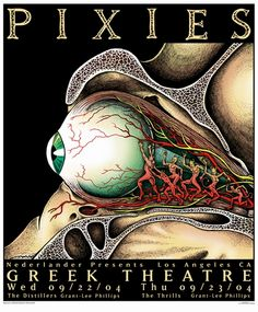 The Pixies Concert Poster by Emek (Greek Theatre)