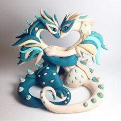 RESERVED Dragon Wedding Cake Topper Heart Style by PatchRabbit