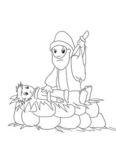 A picture from one of the coloring books. Faithful Abraham ready to sacrifice Isaac, who was at least a teenager when this happened.