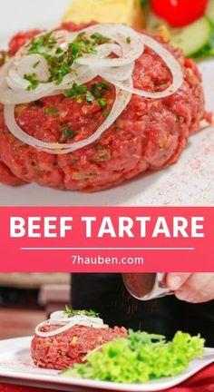 Ein gutes Beef Tartare weiß zu begeistern - für Fleischliebhaber ein Muss! Beef Tartare, Salmon Burgers, Tapas, Food And Drink, Snacks, Meat, Ethnic Recipes, Brunch, Food Blogs
