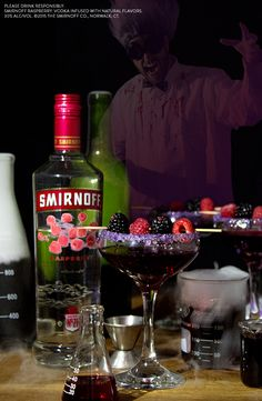 This easy and delicious Wine Ghouler is perfect Halloween drink for all your ghostly cocktail needs. Just add wine, raspberries, blackberries to Smirnoff Raspberry vodka. Boo berries optional.
